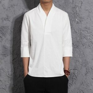 Men's Tops Chinese Style Traditional T-Shirt Casual Cotton Linen Shirts Hanfu