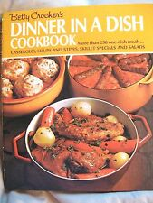 """BETTY CROCKER'S  """"DINNER IN A DISH Cook Book"""" Wire Spine  1973 7th Print"""