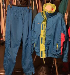 Vintage Women's Columbia Two Piece Ski Suit Size Large/XL Blue Pink Green