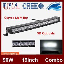 "19"" 90W CREE LED CURVED SLIM SINGLE ROW OFFROAD LIGHT BAR SPOT FLOOD LAMP 3D+ CO"