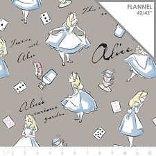 Disney Alice in Wonderland Grey 100% cotton flannel fabric by the yard