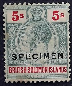 RARE 1914 British Solomon Islands 5/- green & yellow KGV stamp SPECIMEN Mint