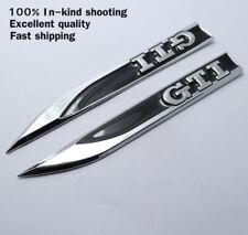 2 GTI VW Badge Fender Side Wing Metal Sticker 3D Logo Decal Emblem Black