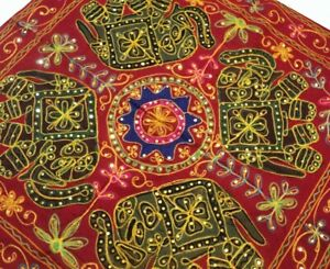 """35"""" MAROON TRIBAL EMBROIDERY GUJARATI THROW WALL HOME DECOR HANGING TAPESTRY"""