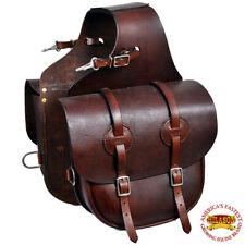 C-G123 Horse Western Saddle Bag Heavy Duty Leather Cowboy Trail Mahogany Hilason