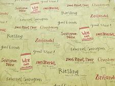 Verde Vino, Copas De Botellas Vino Estampado 100% Algodón Manualidades Telas