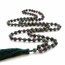 Faceted Red Green Ruby Tibetan Buddhist Prayer Beads Mala Necklace-108Bead