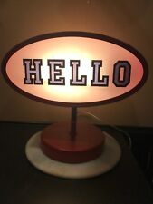 Lamp. Novelty table lamp.One Side Says Hello In The Other Side Says Goodbye.