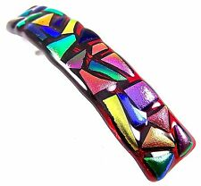 """Dichroic Hair Barrette Red Ruby Rainbow Recycled Fused Glass Textured - 3.5"""" 9cm"""