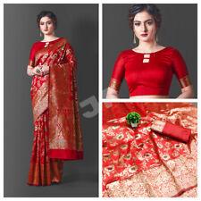 Banarasi Silk Saree Designer Red Saree Indian Wedding Wear Woven Sari Blouse