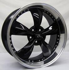 "20"" Black Deep Dish Camaro Bullitt Wheels Rear Pair (2) 20x10 5x120 10-17"