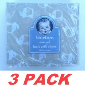 Gerber Baby Crib Sheet 100% Cotton Fitted Knit Crib Sheet Mocha Elephant 3-PACK