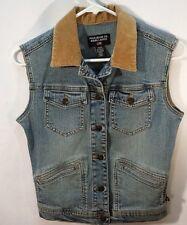 Ralph Lauren Polo Jeans Co.Denim Flag Vest Cord Collar Women's Size Small EUC