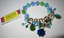 BETSEY JOHNSON ICONIC BLUE BOW AND BLING STRETCH BRACELET