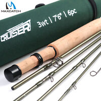 Maxcatch Travel Fly Fishing Rod 2/3/4wt 7'6'' 6Pcs,IM10 Carbon Blank,Fast action