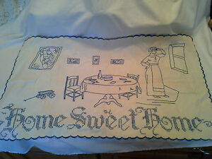 Vintage Early Sampler Home Sweet Home Embroiderd Cotton Hand Stitched