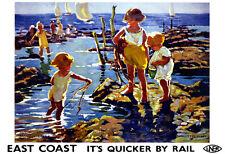 Art Ad East Coast Its Quicker by Rail LNER Train Rail Travel  Poster Print