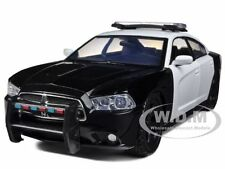 DODGE CHARGER PURSUIT UNMARKED BLACK/WHITE POLICE CAR 1/24 MOTORMAX 76935