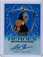14/15 LEAF METAL GERRY CHEEVERS HEROES SIGNATURE AUTO BLUE /10 BOSTON BRUINS