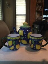 Bella Casa By Game Tea Pot And Two Cups With Lemon Design