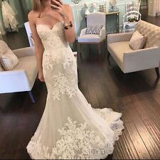 Sweetheart Mermaid White/Ivory Lace Wedding Dresses A-Line Bridal Gown Custom