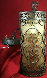 Vintage Mid Century Black Wrought Iron Spanish Revival Gothic Hanging Swag Lamp