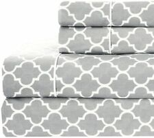 Royal Hotel Meridian Gray and White Brushed Percale Cotton Sheets, 4pc King Bed