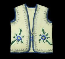 Vintage hand-embroidered ethnic wool vest POLAND goral folk art costume Rusyn