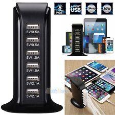 Universal 30W 6A 6 Port Desktop USB Charger Travel Charging Station Hub Adapter