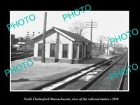 OLD LARGE HISTORIC PHOTO OF NORTH CHELMSFORD MASSACHUSETTS RAILROAD DEPOT c1950