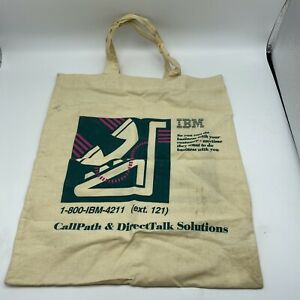Vintage IBM Callpath DirectTalk Solutions Fabric Printed Tote Bag Phone Logo