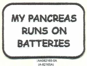 "2"" x 3"" Type 1 Diabetes Diabetic My Pancreas Runs on Batteries Fundraising Patch"