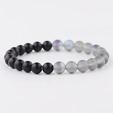 Women Men 8MM Gray MoonStone & Black Onyx Stone Beads Bracelets Elastic Bangle