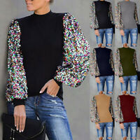 Womens Puff Long Sleeve Sequin Tops Blouse Ladies Casual Loose Sweater Pullover