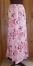 COUNTRY CASUALS pink rose fuchsia floral SILK long elasticated skirt 12-14 40-42