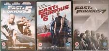 FAST AND THE FURIOUS 5,6,7 [Five,Six,Seven] Vin Diesel, Rock, Walker DVD *EXC