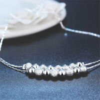 "925 Sterling Silver Women's Chain Adjustable To 10"" Bead Anklet Bracelet D670"