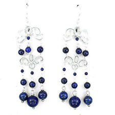 ELEGANT NATURAL 2,8mm BLUE WITH COPPER LAPIS LAZULI STERLING 925 SILVER EARRINGS