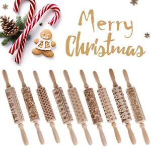 Christmas Embossed Rolling Pin Biscuit Roller Xmas Baking Cookies Cake Wood e n
