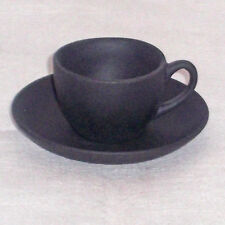 WEDGWOOD BLACK BASALT JASPERWARE MINI / MINIATURE  CUP & SAUCER NEW IN BOX