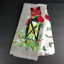 Cardinals Lantern Holiday Kitchen Towel 2 Pack Birds Holly Branches Grey White