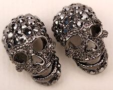 Skull stud earrings women biker bling jewelry gift EM33 dropshipping gun color