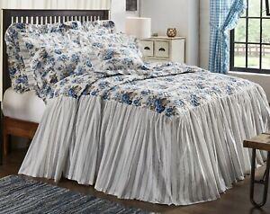 Exquisite Blue Floral Bed Spread Quilt Vintage-Style Farmhouse w/ Annie Gingham