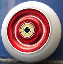 SCOOTER WHEELS-CLEARANCE Solid Core -RED/White -100mm FREE GRIP TAPE & POST
