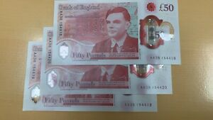 ENGLAND NEW £50 - POLYMER Plastic - Alan Turing - AA Serial -Uncirculated
