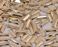 50 PZ x Sew sul 7x21 mm Acrilico Strass colore dorato forma rettangolare