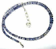 """97.00 CT Natural Iolite Gemstone Rondelle Faceted Beads 19.5"""" NECKLACE 4-8MM S4"""