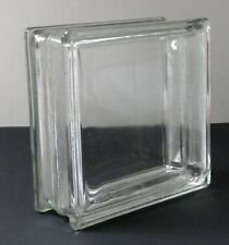 Vintage 50s-60s Architecture Clear Glass Block Brick Capped Hole 5 3/4x5 3/4 in