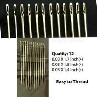 72PCS Self-threading Needles Assorted Sizes Thread Sewing Stitching Pins US