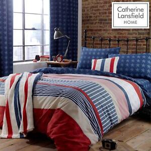 Catherine Lansfield Stars And Stripes Duvet Set Reversible Bedding Spread Kids